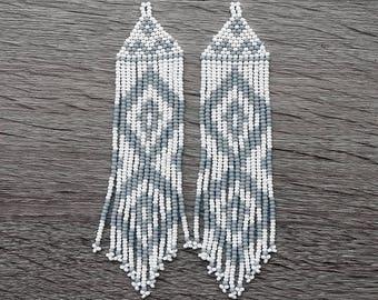 Beaded Native  American Earrings  Inspired. White Gray  Earrings. Long Earrings. Gift For Her.  Beadwork.