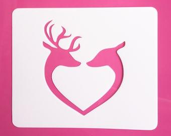 Buck and Doe Heart Stencil, Buck and Doe Wedding Stencil, Buck and Doe Love Stencil