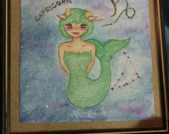 Capricorn Astrology Watercolor Painting