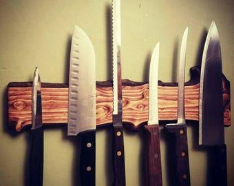 Natural wood magnetic knife holder