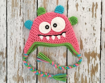 READY  TO SHIP pink monster crochet hat 1-2 years