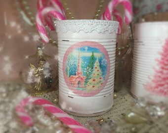 Christmas Barely Pink White Lace Shabby Chic Tin Can Vase Centerpiece Decorations Xmas Decor Paint Decoupage Decorated Embellished Gift Box