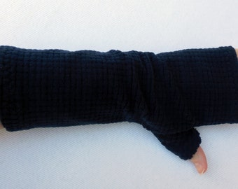 Navy Blue Fleece Gauntlet Fingerless Gloves, partially covered thumb, 9 1/2 inches long, ONE PAIR, driving, navy blue gauntlet, size Med, A