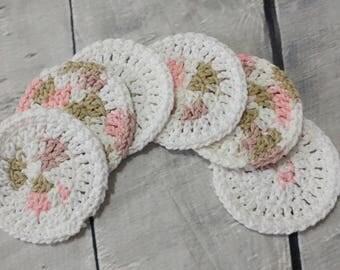 Face scrubbies - set of 6 - Crochet cotton scrubbies,  Makeup Removers,  Mini Washcloths, Eco-friendly, coasters