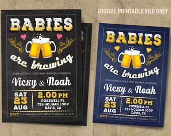 Babies Are Brewing, Co-Ed Baby Shower Invitation, Beer Baby Shower, Chalkboard, DIY