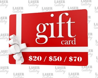 GIFT CARD 20 30 50 CAD Shop Gift Card - Buy Gift Certificate - Last Minute Birthday Gift - Laser Gallery Gift Card - Buy Prepaid Gift Card