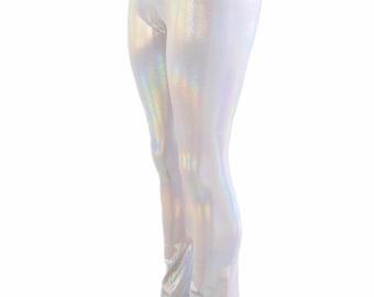 Womens Boot Cut High Waist Leggings in Flashbulb Holographic - 154124