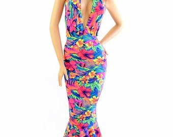 "Tahitian Floral UV Glow ""Josie"" Style Backless Plunging Tie Back Halter Fishtail Hemline Gown (No train) 154249"