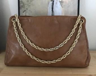 Bottega Veneta Handbag Designer Chain Strap shoulder Bag Brown Smooth Leather 1980s