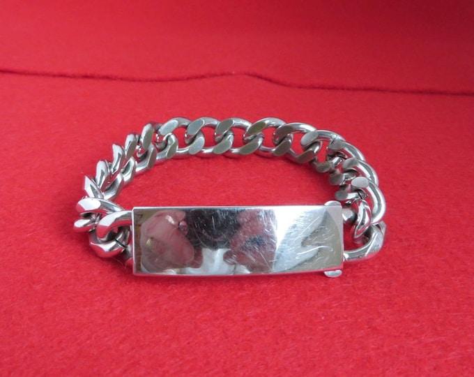 Vintage SPEIDEL ID Bracelet, Rhodium Electroplate, Engraveable Bracelet