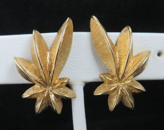 Monet Matte Gold Tone Earrings Flowery Clip Ons Vintage Estate Jewelry Gift Idea Designer Signed Runway
