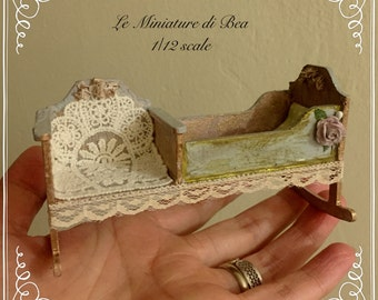 1/12 OOAK rare rocking cradle, hand painted and decorard by Bea victorian style dollshouse miniatures.