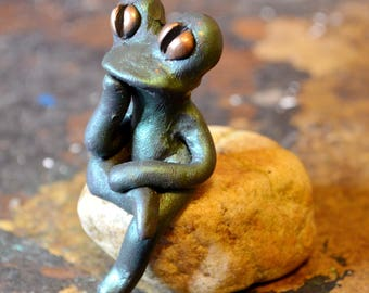 Made To Order Polymer Clay Frog, Computer Frog, Frog Sculpture, Frog Figurine, Green Frog, Miniature Frog, Frog Lovers Gifts, Cute Frog,