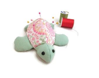 Handmade Turtle Pincushion - Pink and Green