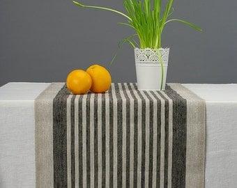 Linen Table Runner Random Striped