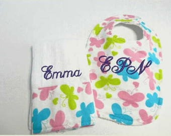 Bib and Burp Cloth Set, custom bibs, baby boy bibs,baby girl bibs, baby shower gift, embroidered bib, custom burp cloth,mom to be,baby bibs