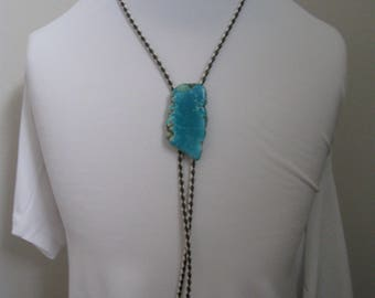Bolo Tie Turquoise Stone Leather Platted Necklace