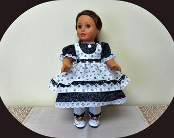"""Historical 18 inch Doll Dress/Colonial American Civil War Day Dress/AG Clothes/18"""" Girl doll outfit/Pantaloons/Undergarments/free shipping"""