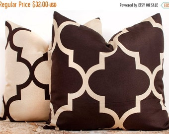 SALE ENDS SOON Brown and Cream Trellis Pillow Case Set, Luxury Cotton Pillow Cases, Pillowcases for Sofa, Two 16 x 16