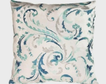 Pillow Cover In Shades of Blues And Beiges, Beautiful Botanical Design On A White Background, Zipper Closure, 3 Sizes Including Lumbar