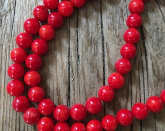 Polished Natural Red Bamboo Coral Gemstone Beads - Center Drilled - Red - Size 7-8mm - 10 Beads per order