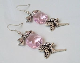 Earrings with fairy and pink crystal