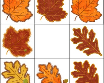 Set of Rustling Leaves #2 applique machine embroidery designs. Instant download now available.