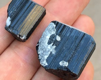 2pc Top Quality 27.5g Black Tourmaline Schorl Crystal Set - Stak Nala, Pakistan - Item:T17065