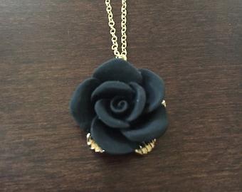Black rose pendant etsy rose necklace gold rose necklace rose rose jewelry rose pendant black aloadofball Gallery