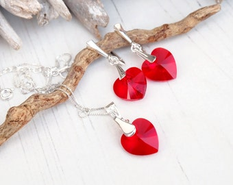 Swarovski Deep Red  Heart Earring Necklace Set- Swarovski Crystal Jewellery-Sterling Silver Heart Dangle Earring Necklace-Bridesmaides Gift