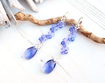 Long Sterling Silver Swarovski Earrings-Beaded Dangle Drop Swarovski Earrings-Purple Teardrop Crystal Earrings-Wedding Bridesmaids Earring