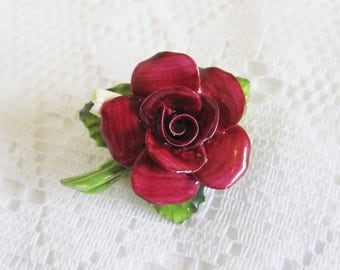 Vintage China Rose Brooch, Denton China, Deep Pink or Red Rose Brooch, Hand Modelled and Hand Painted