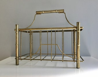 Brass tones Faux Bamboo Magazine Rack Holder