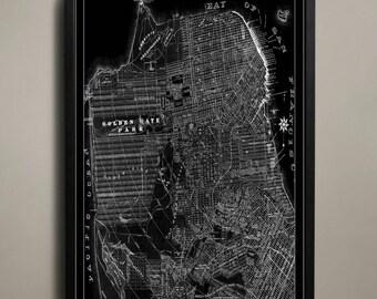 Canvas Print - San Francisco City Map - San Francisco City Canvas - San Francisco Map - San Francisco Canvas Print - SF Canvas