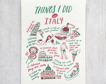 Things I Did in Italy Letterpress Postcard