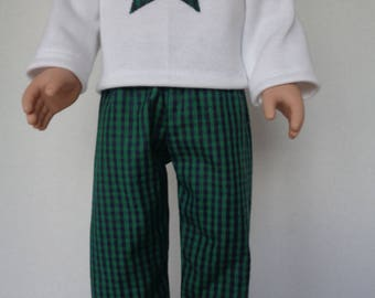 18 Inch Boy Doll Clothes/18 Inch Boy Doll Pajamas/Green and Black Plaid Pants/White T-shirt with Star
