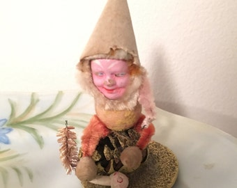 Vintage Christmas Pinecone Pixie Elf Japan Holiday Decor