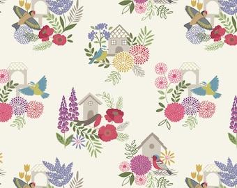 Lewis & Irene Grandma's Garden Patchwork Quilting Fabric A198.1 Bird Houses on Light Cream