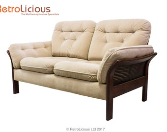 Danish Design Rosewood and Rattan 2 Seater Love Seat Sofa