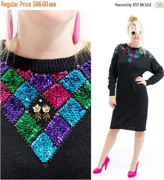 Vtg 80s Trophy Sweater Dress SEQUIN Dolman Batwing Sleeve Draped DIAMOND GEOMETRIC Bedazzled Avant Garde multi Color Rainbow Color Block