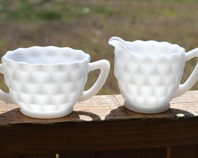 Vintage White Milk Glass Sugar Bowl and Creamer Set Cube Cubist Hazel Atlas Cottage Tea Party PanchosPorch