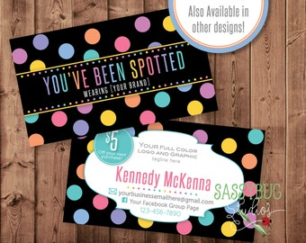 You've Been Spotted Cards with Optional 5 Dollar Off Coupon | Digital Printable | Personalized | Dots on Black | 3.5 x 2 | Two-Sided