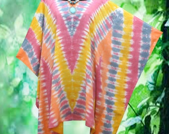 Vintage Gypsy Tie dye Artwork Blouse Beach Cover Up Poncho Top