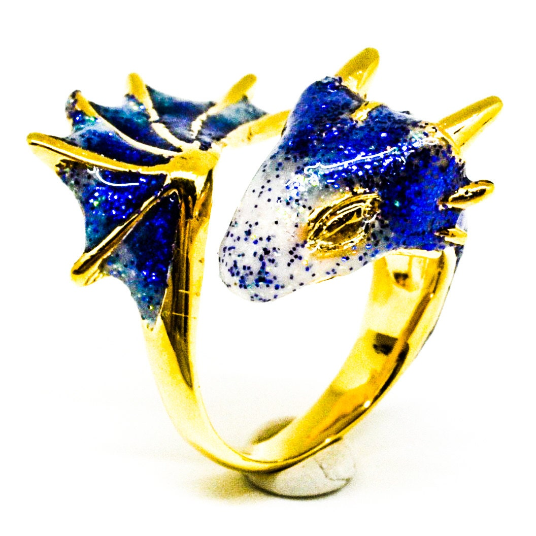Gold Sapphire Dragon Ring