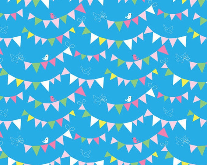 HIP HOORAY - Bunting Day in Blue - Party Pennant Flags Cotton Quilt Fabric - by Lizzie Mackay for Blend Fabrics - 121.101.03.2 (W3785)