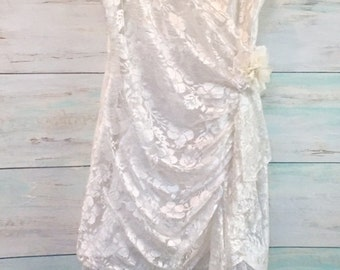 Romantic Ivory Vintage 1980's Prom Dress, Wedding Dress, Restyled Dress, Shabby Chic Eco Fashion, Recyled Altered Dress ,  Size SM