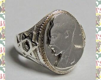 Haile Selassie I[Ethiopia Silver Ring]  (Ethiopia Reggae Roots Dub Rastafari Africa Jamaica)