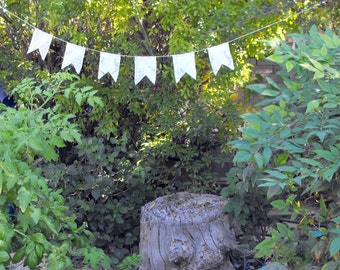 Banner or Bunting  Made From Vintage Linens- White With Colorful Embroidery
