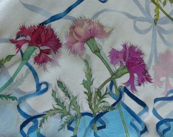 """silk scarf """" carnations"""""""