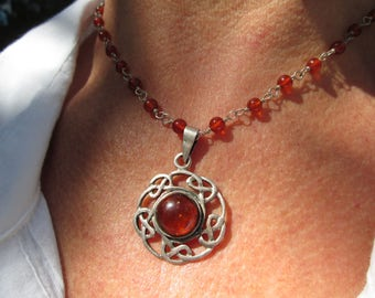 Amber and Sterling Silver Pendant Necklace